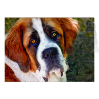 St Bernard Dog Painting Card
