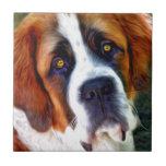 St Bernard Dog Painting Ceramic Tile