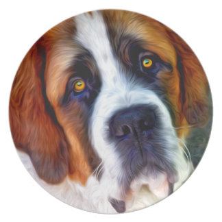 St Bernard Dog Painting Dinner Plate