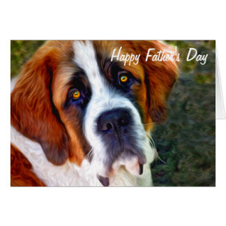 St Bernard Dog Painting Happy Father's Day Card