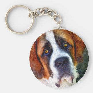 St Bernard Dog Painting Keychain