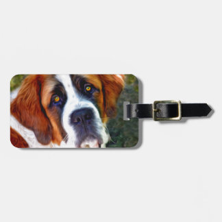 St Bernard Dog Painting Luggage Tag