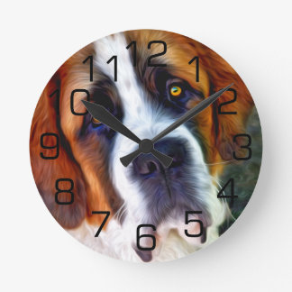 St Bernard Dog Painting Round Clock