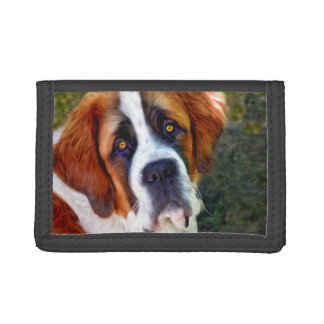 St Bernard Dog Painting Tri-fold Wallet