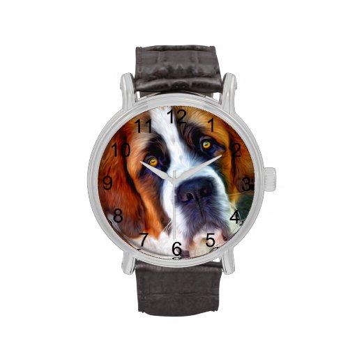 St Bernard Dog Painting Wrist Watch