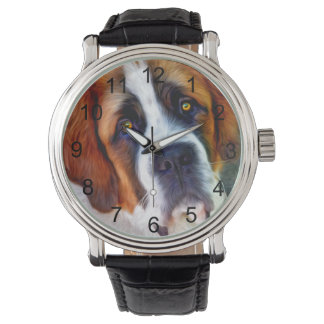 St Bernard Dog Painting Wristwatch