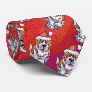 St. Bernard in Hat Pattern On Red Tie