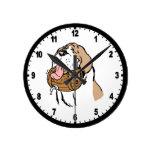 St. Bernard Keg Dog Round Clocks