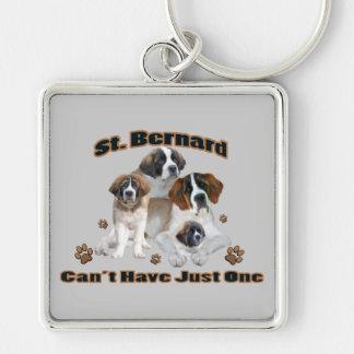 St Bernard no puede tener productos apenas uno Llavero Cuadrado Plateado