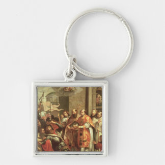 St. Bernard of Clairvaux  and William X  Duke Silver-Colored Square Keychain
