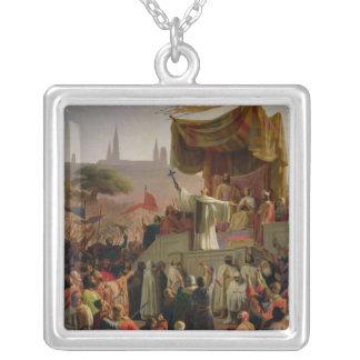 St. Bernard Preaching the Second Crusade Square Pendant Necklace