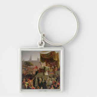 St. Bernard Preaching the Second Crusade Silver-Colored Square Keychain