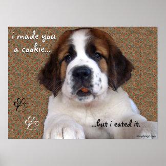 St Bernard Puppy Cookie Canvas Poster