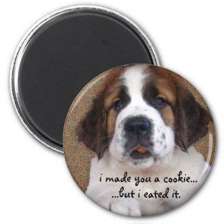 St Bernard Puppy Cookie Magnet