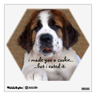 St Bernard Puppy Cookie Wall Sticker