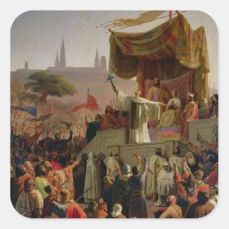 St Bernard que predica la segunda cruzada Pegatina Cuadrada