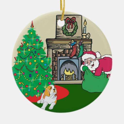 St Bernard Santas Gift Double-Sided Ceramic Round Christmas Ornament