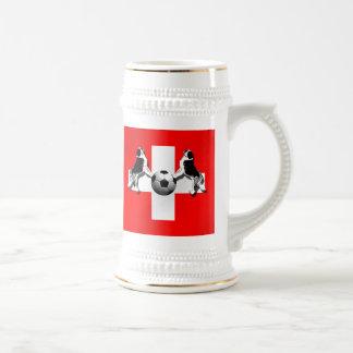 St Bernard Swiss Soccer flag of Switzerland gifts Mugs