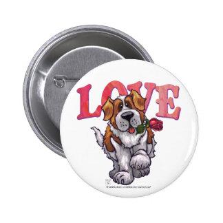 St. Bernard Valentine's Day Button