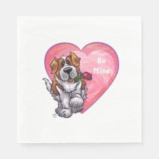 St. Bernard Valentine's Day Paper Napkin