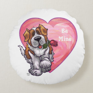 St. Bernard Valentine's Day Round Pillow