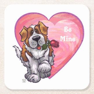 St. Bernard Valentine's Day Square Paper Coaster