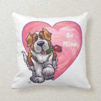 St. Bernard Valentine's Day Throw Pillow