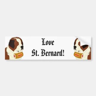 St. Bernard with a Small Wine Barrel - Line Art Car Bumper Sticker