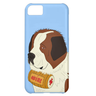 St. Bernard with a Small Wine Barrel - Line Art Cover For iPhone 5C