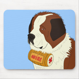 St. Bernard with a Small Wine Barrel - Line Art Mouse Pad