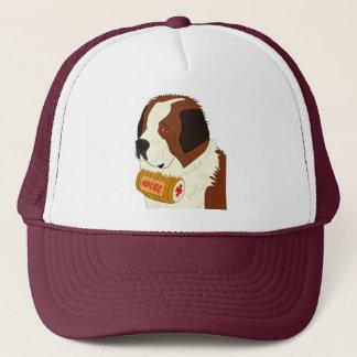 St. Bernard with a Small Wine Barrel - Line Art Trucker Hat