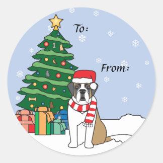 St Bernard y árbol de navidad Etiqueta Redonda