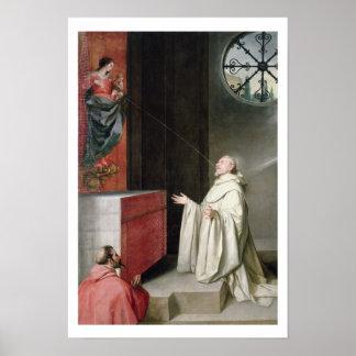 St Bernard y la Virgen Póster