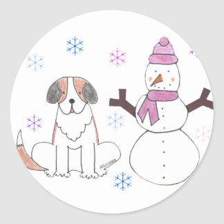 St Bernard y muñeco de nieve Etiqueta Redonda