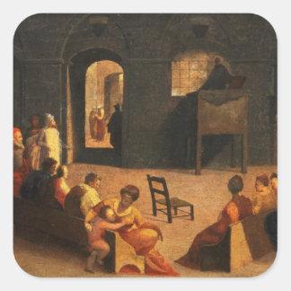 St Bernardino of Siena Preaching Square Sticker