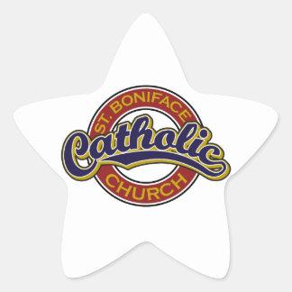 St. Boniface Catholic Church Blue on Red Star Sticker
