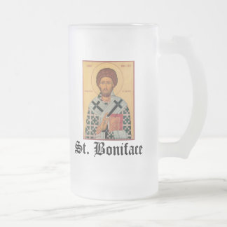 "St_Boniface.jpg, St. Boniface, ""In her voyage a... Frosted Glass Beer Mug"