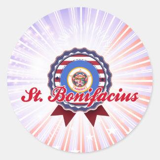 St. Bonifacio, manganeso Pegatinas Redondas