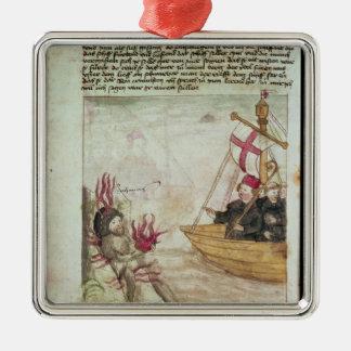 St. Brendan in his ship Metal Ornament