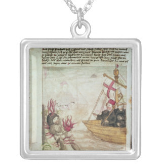 St. Brendan in his ship Silver Plated Necklace