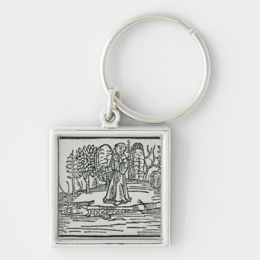St. Brendan on the fish island Silver-Colored Square Keychain
