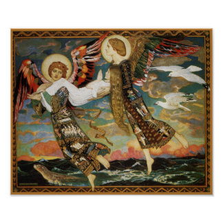St. Bride - Carried by Angels - by John Duncan Poster