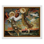 St. Bride Carried by the Angels by John Duncan Poster