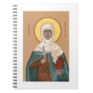 St Brigid con el fuego y la cruz santos Libro De Apuntes Con Espiral