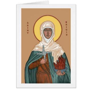 St Brigid con el fuego y la cruz santos Tarjeta De Felicitación