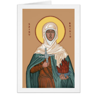 St Brigid with Holy Fire and Cross Cards