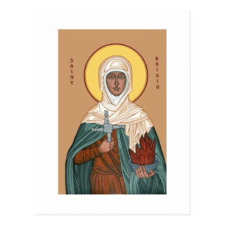 St Brigid with Holy Fire and Cross Postcard