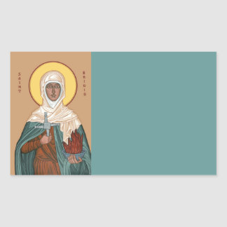 St Brigid with Holy Fire and Cross Rectangular Sticker
