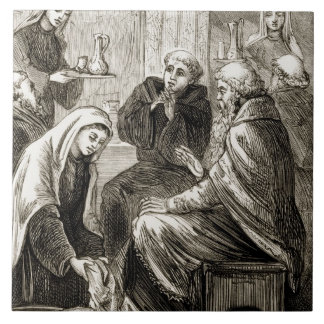 St. Brigit entertaining a Bishop, from 'The Trias Ceramic Tile