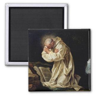 St. Bruno  Praying in the Desert, 1763 2 Inch Square Magnet
